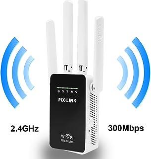 PIX-LINK Amplificador Señal de WiFi 300Mbps, Repetidor WiFi Extensor Enrutador Inalámbrico Punto Acceso con 4 Antenas Externas en Largo Alcance (WR09, Blanco)