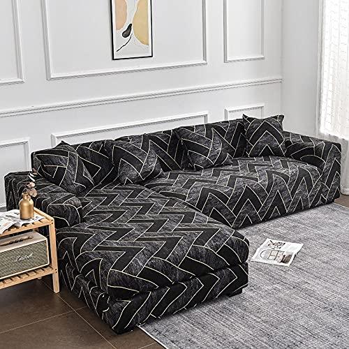 MKQB Funda de sofá geométrica, Funda de sofá telescópica elástica en Forma de L para la Esquina de la Sala de Estar, Funda de sofá de protección para Mascotas n. ° 6 M (145-185cm cm