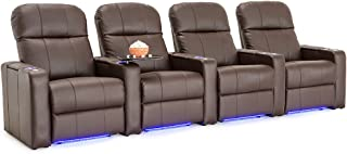 Seatcraft Venetian Leather Home Theater Seating - Power Recline (Row of 4, Brown)