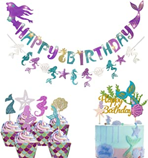 Mermaid Party Decoration - Glitter Mermaid Shape Birthday Banner+Mermaid Seashell Banner ,1 Pcs Mermaid Happy Birthday Cake Topper and 24 Pcs (6 Style) Mermaid Cupcake Toppers for Baby Shower,Mermaid Theme Party ,Birthday Party ,Under The Sea Party.