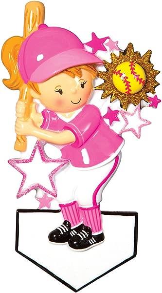 Personalized Softball Player Christmas Tree Ornament 2019 Girl In Pink Holds Bat Mush Ball Stars Athlete Coach Hobby College MLB Kitten Lady Mitt Brunette Blonde Gift Year Free Customization