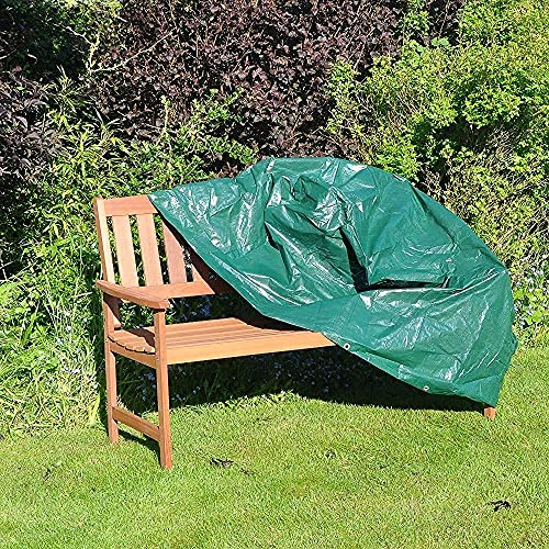 GREEN HAVEN 3 Seater Bench Seat Cover with Corner Eyelets & Securing Ropes – Heavy Duty Garden Bench Cover Waterproof Chair Cover – Weatherproof Garden Furniture Cover 90cm x 162cm x 66cm