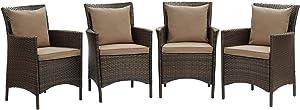 Modway EEI-4031-BRN-MOC Conduit Outdoor Patio Wicker Rattan Dining Armchair Set of 4, Brown Mocha