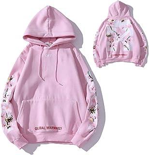 Womens Hoodie Sweatshirt Cherry blossom flowers Hooded Long sleeve Lovers Windproof Warm Hooded Jacket Hoody Jacket Coat (...