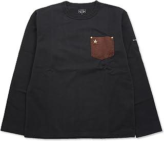 (ショット) Schott 長袖 鹿革 ポケットTシャツ ワンスター 国内正規品 ブラック×ブラウン 3173078-99