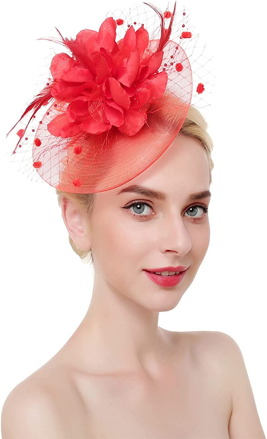 Fascinators Hat for Women Girls Flower Mesh Ribbons Feathers on