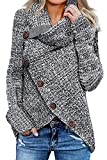 Asvivid Womens Lightweight Turtle Cowl Neck Pullover Sweater Solid Thick Big Button Asymmetrical Wrap Knitted Sweaters Jumper S Grey