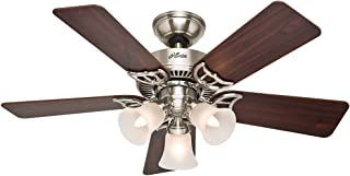 Hunter Indoor Ceiling Fan, with pull chain control - Southern Breeze 42 inch, Brushed Nickel, 51011