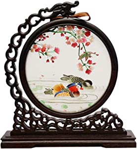 SXYD Chinese Style Flowers Birds Screens Desktop Decoration Handmade Double Sided Embroidery Arts Decorative or As A Gift Collectible
