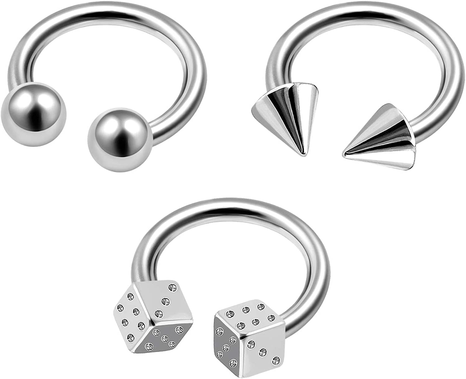 MATIGA 3Pcs Surgical Steel 16g Horseshoe Hoop Piercing Jewelry Cartilage Septum Nose Eyebrow Helix 4mm Cone Ball Dice More Choices