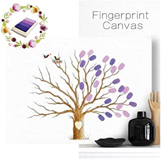 UPlama Fingerprints Canvas Tree,Fingerprint Family Tree,DIY Guest Signature Sign-in Book Canvas Fingerprints Tree Painting for Wedding Birthday Family Party, with 4pcs Ink Pads Purple.