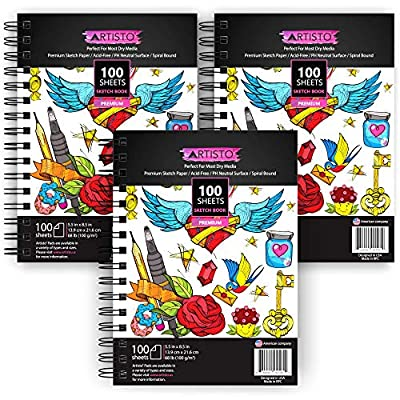 """Artisto 5.5X8.5"""" Premium Sketch Book Set, Pack of 3 (300 Sheets), 80lb (125g/m2), Spiral Bound, Acid-Free Drawing Paper, Perfect for Most Dry Media, Ideal for Kids, Teens & Adults."""