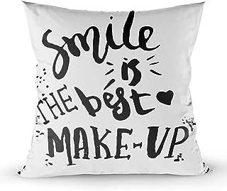 2PC 18X18,Fundas De Almohada,Fundas De Almohada De Tiro Cuadrado Sonríe El Mejor Maquillaje Carteles De Tinta Negra Manuscrita Tarjetas De Felicitación Camisetas Brus,Naranja Gris