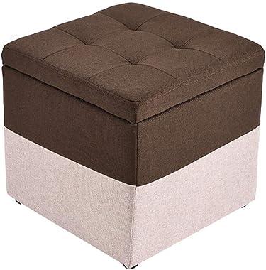 Furniture Creative Cloth Storage Stool Wooden Practical Footstool Pouffe Upholstered Footrest Highly Elastic Sponge Filling S