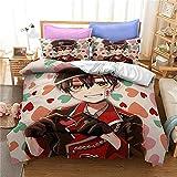 Proxiceen Ropa de cama Anime de microfibra, 3 piezas, funda nórdica con cremallera y funda de almohada (estilo 2,260 x 230 cm + 80 x 80 cm x2)