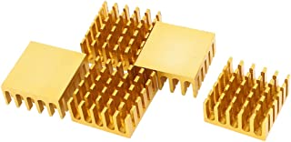 sourcing map 5uds Disipador Térmico de Tono Oro del Radiador de Aluminio Disipador Térmico de 22mm x 22mm x 10mm