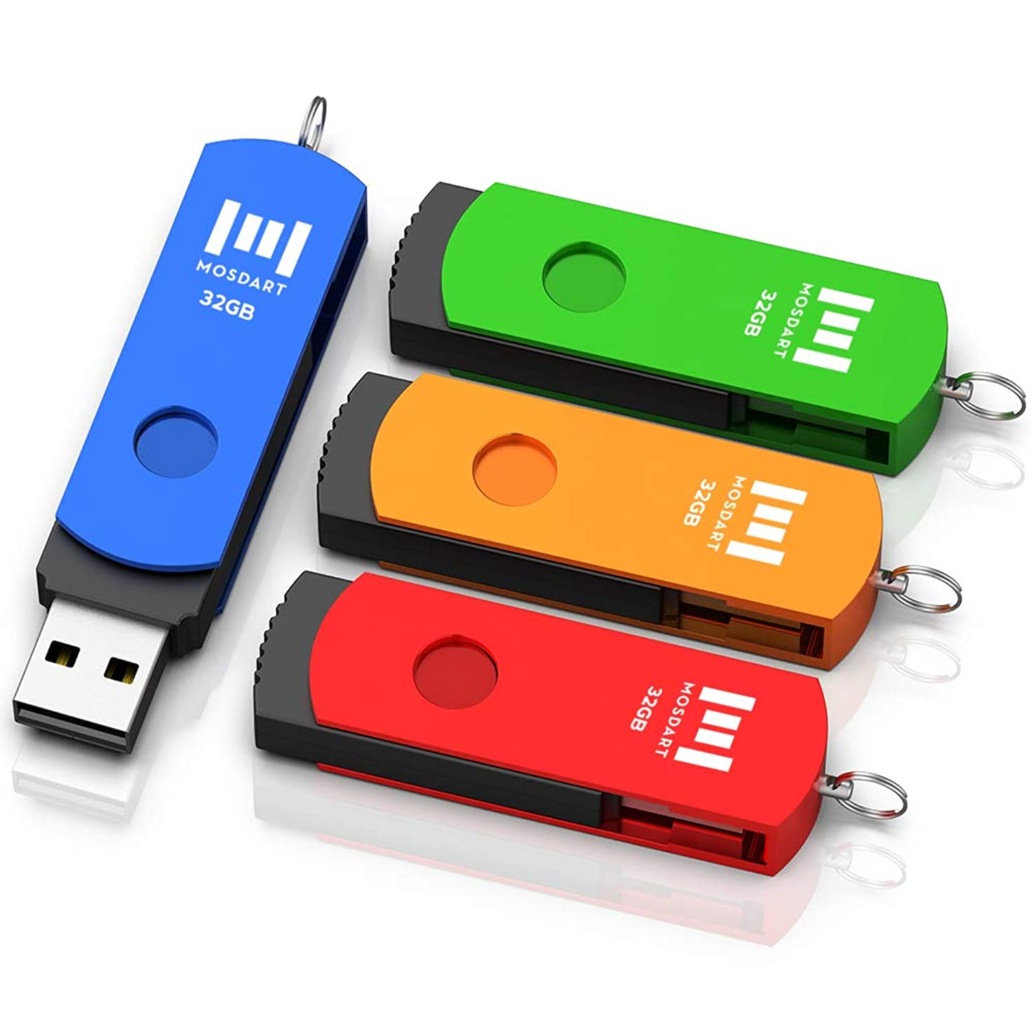 32GB USB 2.0 Flash Drive 4 Pack, A Set of 32 GB 360° Rotation Thumb Drives with Keychain, 32gig Multipack Jump Drive for Computer Storage by MOSDART (Multicolor)