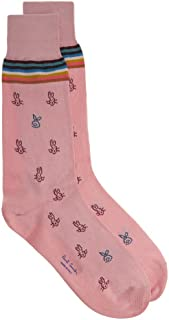 PAUL SMITH Mens Cotton Rabbit Artist Stripe Socks Pink One Size
