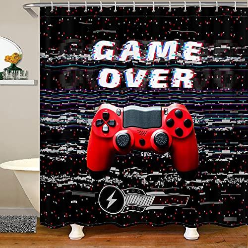 Cortina de ducha para juegos de baño, color rojo Gamepad Gamepad, resistente al agua, cortina de ducha con ganchos para niños y niñas, habitación de los niños, videojuego y bañera de 59 x 71 pulgadas