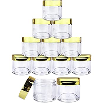Beauticom 12 Piece 1 oz. USA Acrylic Round Clear Jars with Flat Top Lids for Creams, Lotion, Make Up, Cosmetics, Samples, Herbs, Ointment (12 Pieces Jars + Lids, GOLD)
