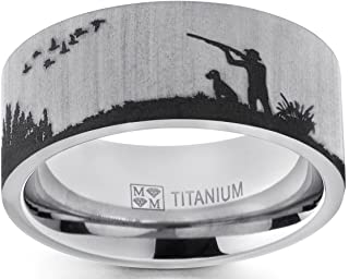 Men's Titanium Ring Wedding Band with Laser Etched Bird Duck Hunting Outdoor Ring, Comfort Fit 9mm