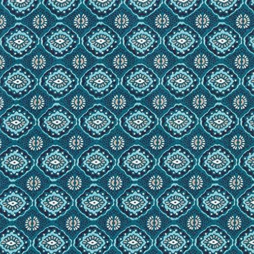 Baumwollstoff Cretonne Amulett – petrol — Meterware ab 0,5m — STANDARD 100 by OEKO-TEX® Produktklasse I — zum Nähen von Kissen/Tagesdecken, Homeaccessoires & Taschen