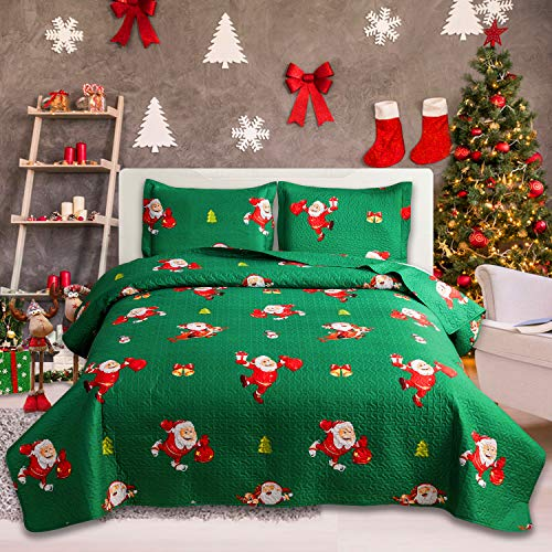 Green Christmas Bedding Set with Santa Claus, Reversible Lightweight Bedspread Coverlet Set King(96x108 inches) Jingling Bell Deer Microfiber Quilt Blanket with Pillow Shams for Xmas Gift (Green,King)
