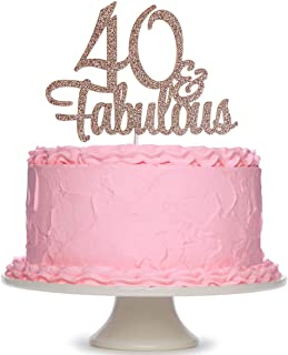 Rose Gold Glittery 40 & Fabulous Birthday Cake Topper - 40th Birthday Party Decoration Supplies