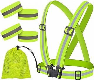 JJunLiM Hoge zichtbaarheid reflecterende polsbandjes/enkelbanden/armbanden, veiligheidsuitrusting voor hardlopen, fietsen,...