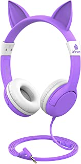 [2020 Upgrade]iClever Boostcare Kids Headphones Girls - Cat Ear Hello Kitty Wired Headphones for Kids on Ear, Adjustable 85/94dB Volume Control - Toddler Headphones with MIC for Kindle Tablet, Purple