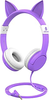 [Upgrade] iClever Boostcare Kids Headphones Girls - Cat Ear Hello Kitty Wired Headphones for Kids with MIC, Adjustable 85/94dB Volume Control - Toddler Headphones on Ear for School Tablet, Purple