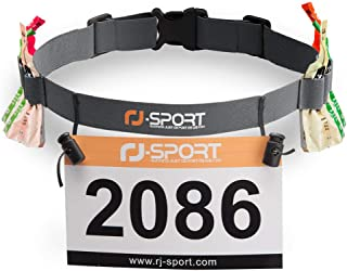 RJ-Sport Race Number Belt - Triathlon Race Belt Bib Holder with 6 Energy Gel Loops for Triathalon, Marathon, Running and Cycling