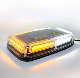 LE-JX White & Amber Led Strobe Warning Light Rotating Beacon Roof Top Plow Hazard Flash Emergency Light 12-24 Volt with Magnetic Base Mount and Cigar Lighter Plug (WhIte & Yellow, 6 COB LED)