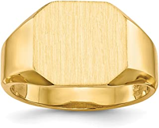 14k Yellow Gold 12.5x11.5mm Signet Band Ring Size 8.00 Man Fine Jewelry Gift For Dad Mens For Him
