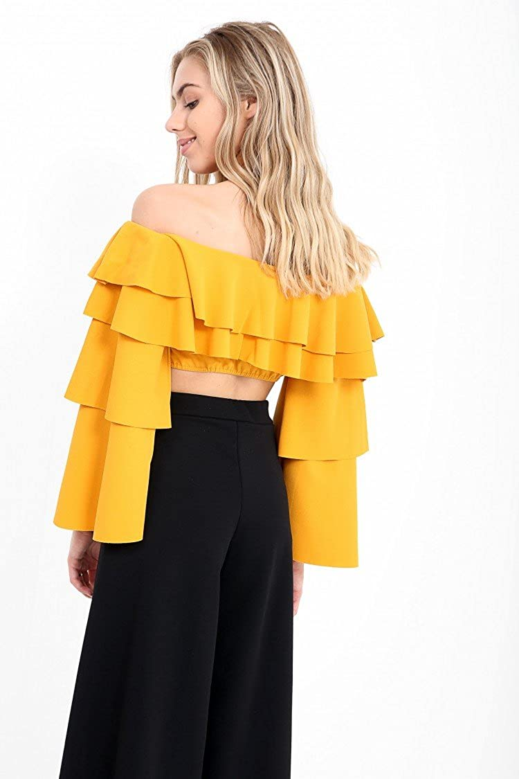 Ladies Extreme Layered Frill Bardot Crop Top US Size 2-8