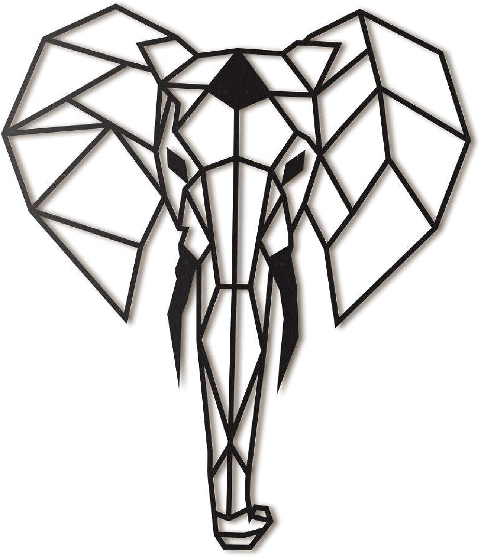 Elephant XL Metal Wall Art by Hoagard  Elefant XL-Metallwandkunst von Hoagard  75 cm x 90 cm  Geometrische Metallwandkunst, Wanddekoration  Weihnachtsgeschenk
