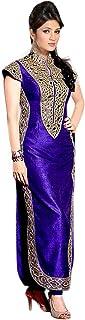 Pop Mantra Women's silk anarkali Salwar Suit Set (71153A_ Blue_ Xxx-Large)