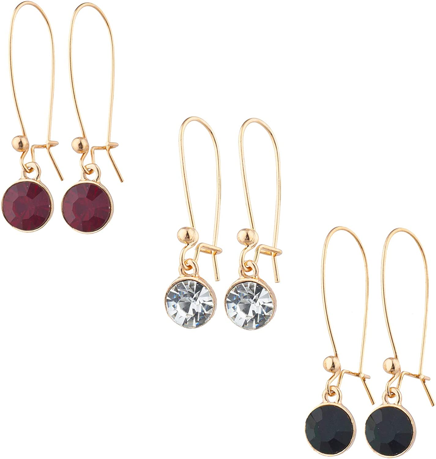 Lux Accessories Gold Tone Red Crystal Black Rhinestone Earrings Set of 3