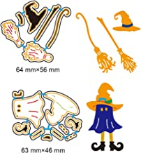2 Set DIY Metal Cutting Dies 3D Halloween Witch Ghost Paper Cutting Dies Wizard Broom Stencil Template Mould for DIY Cutting Templates Scrapbook Album Paper Card