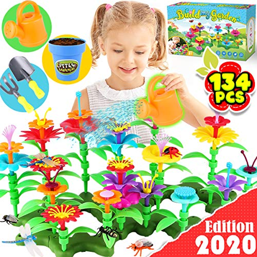 GoodyKing Flower Garden Building Toys for Girls - STEM Toy Gardening Pretend Gift for Kids - Stacking Game for Toddlers playset - Educational Activity for Preschool Child