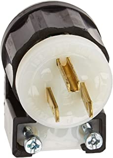 Leviton 5266-CA 15 Amp, 125 Volt, Angle Plug, Straight Blade, Industrial Grade, Grounding, Black-White