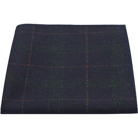 Navy Blue & Dark Green Check Pocket Square, Tweed, Tartan, Plaid