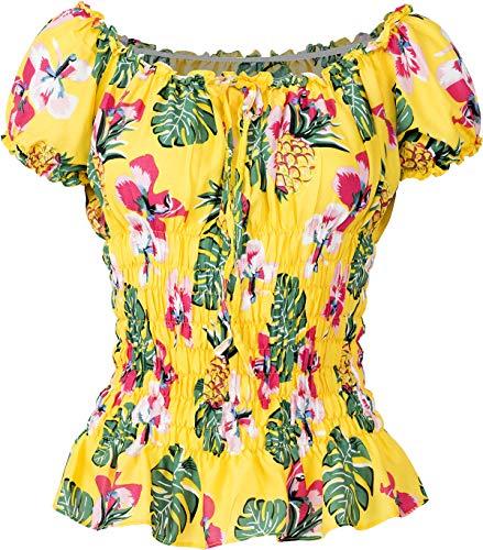 Küstenluder Damen Oberteil Thao Ananas Hibiskus Palm Bluse (L, Gelb mit tropischen Motiven)