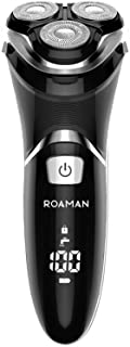 ROAMAN Electric Razor for Men,Rechargeable 3D Rotary Mens Electric Shaver Wet Dry IPX7 Waterproof with Pop-up Beard Trimmer,Corded Cordless Play,Wall Adapter 100-240v Best Worldwide Travel Gift