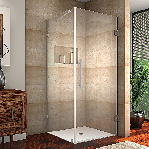 """Aston SEN988-SS-36-10 Aquadica Completely Frameless Square Hinged Shower Enclosure, 36"""" x 36"""" x 72"""", Stainless Steel"""