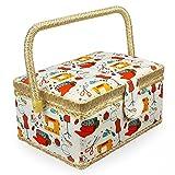 Leogreen - Boîte à Couture en Tissu Vintage, Boîte à Couture Portable