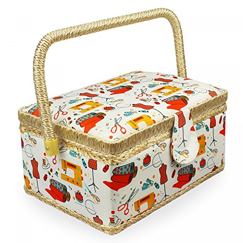 Leogreen - Boîte à Couture en Tissu Vintage, Boîte à Couture Portable, 24 x 17,5 x 13 cm, Atelier de Couture Orange