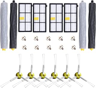 Replenishment Kit for iRobot Roomba 800 900 Series 805 860 870 871 880 890 960 980 Robotic Vacuum Cleaner Accessory with 4 Roller, 4 Hepa Fliter and 6 Side Brushes 10 Screws (24 pcs)
