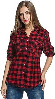 4e6d980d745dd VJGOAL Femmes Tops La Chemise à Carreaux Tartan éCossais des Chemises De  Flanelle Retrousser Les Manches