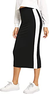 SheIn Women's Elegant Grid Print High Waist Bodycon Pencil Midi Mid-Calf Skirt